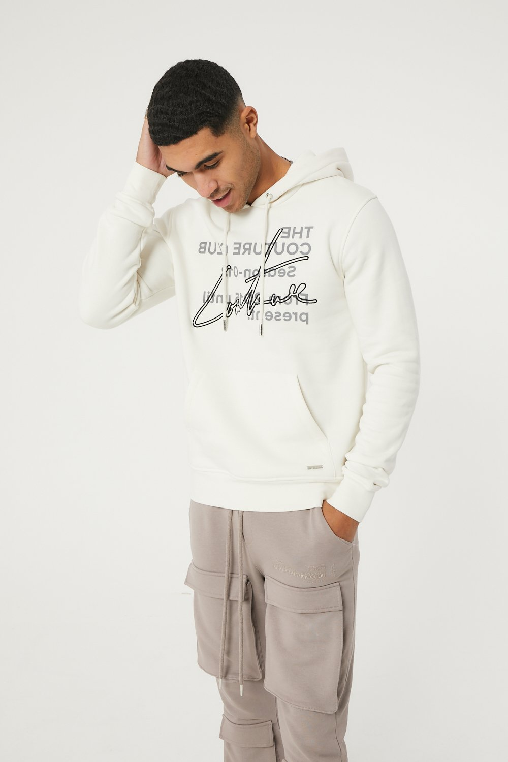 SIGNATURE SEASON EMBROIDERED HOODIE OFF WHITE S