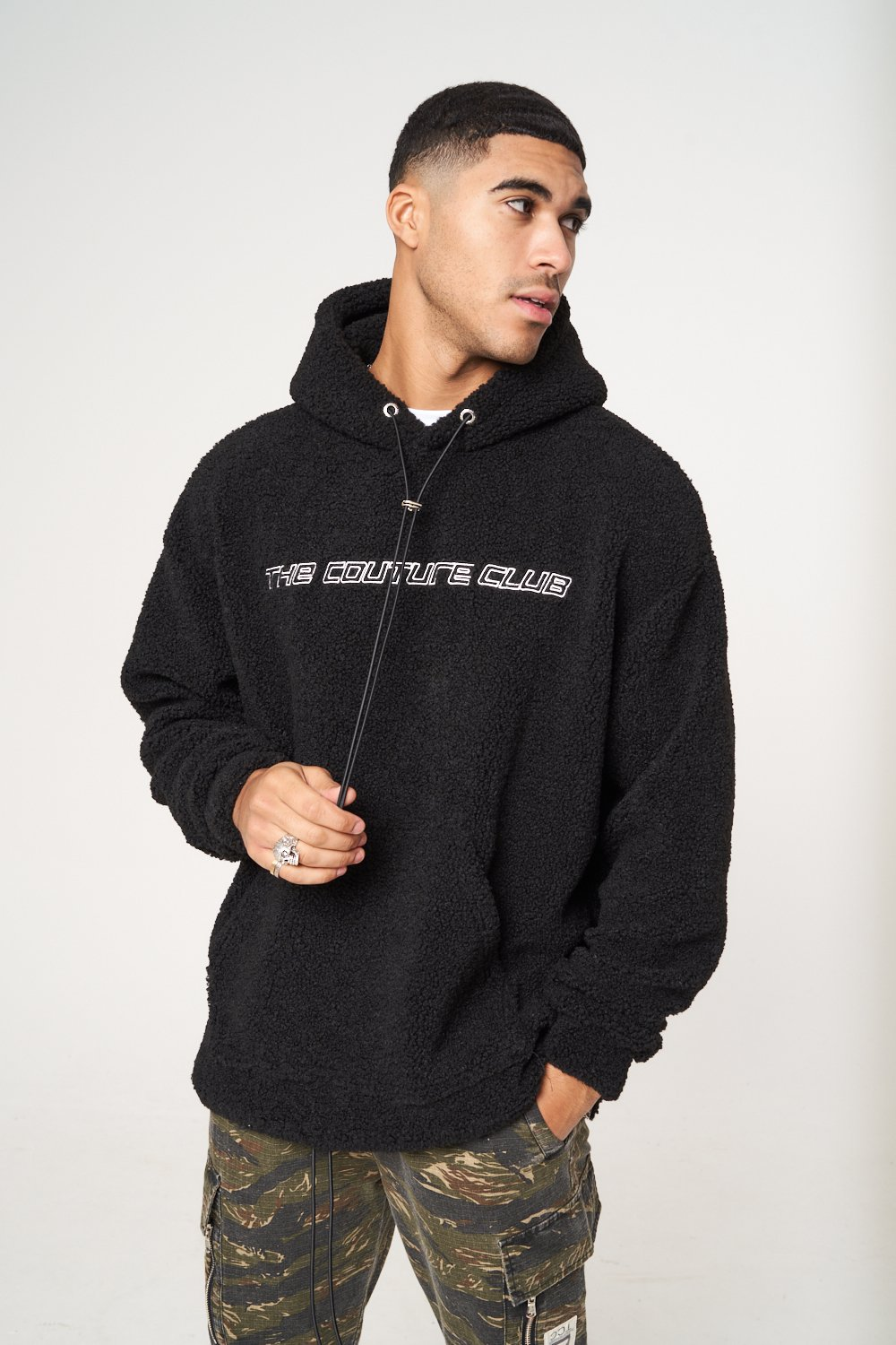 OVERSIZED BORG HOODIE WITH RUBBER BADGE XL