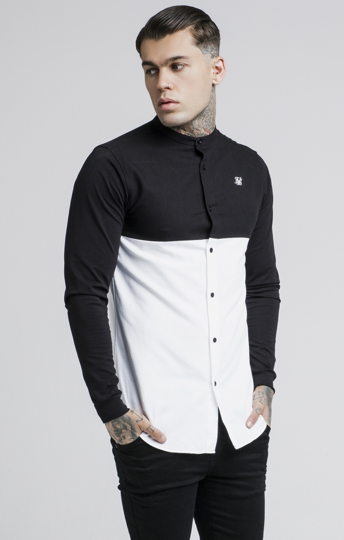 Košeľa SikSilk Cut and Sew L/S Grandad Collar S