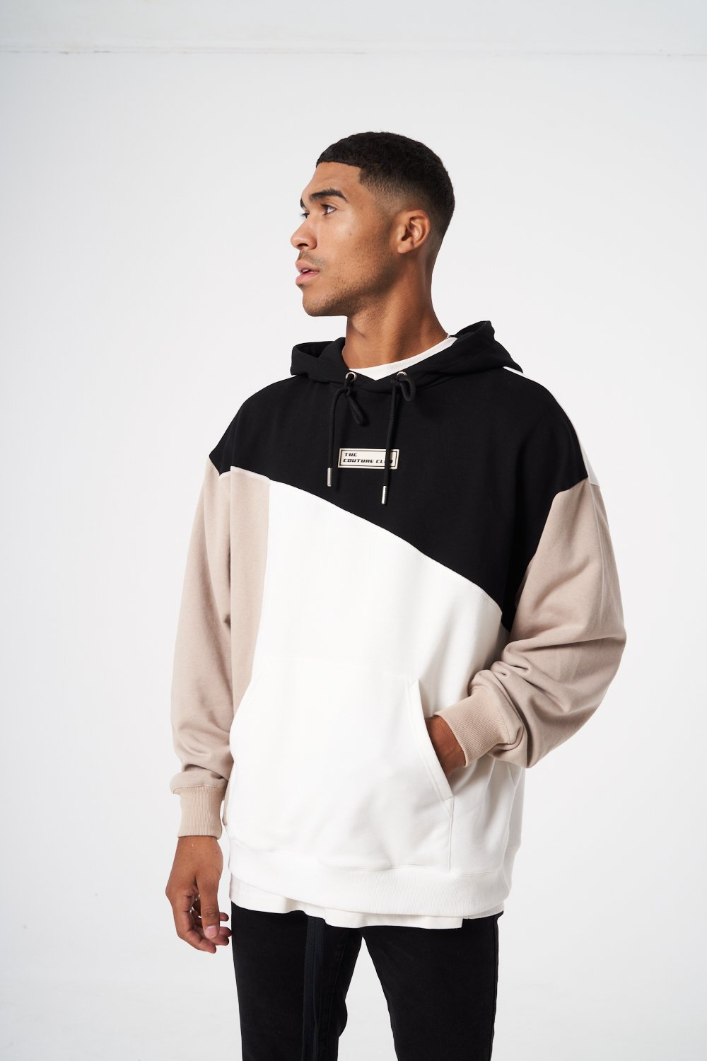 OVERSIZED SPLICED CONTRAST STITCHED HOODIE XL
