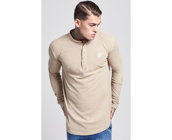 Tričko Sik Silk Collarless Polo Shirt Sand