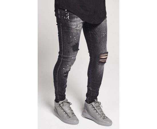 Jeans Sik Silk Riot Low Rise Skinny Washed Black