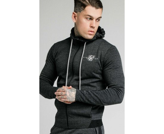 SIKSILK TONAL CHECK AGILITY ZIP THROUGH HOODIE