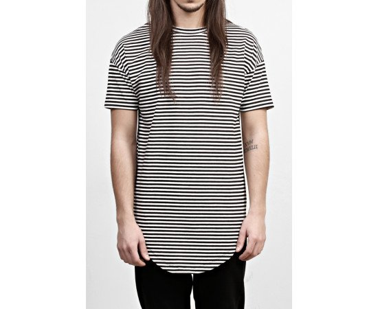 Tričko Striped Round T-Shirt Black/White