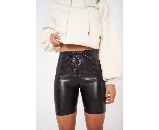 LACE FRONT LEATHER CYCLING SHORTS