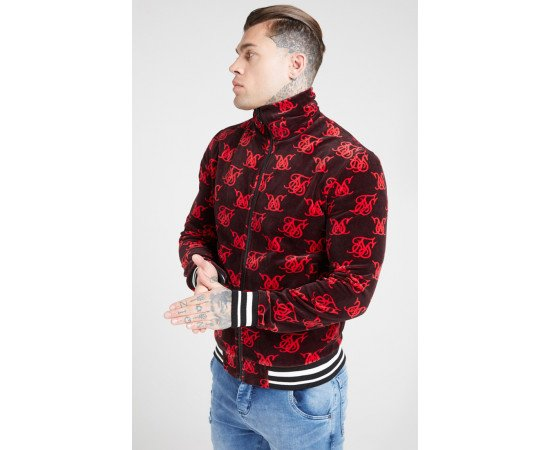 SikSilk High Neck Bomber Jacket – Navy & Red