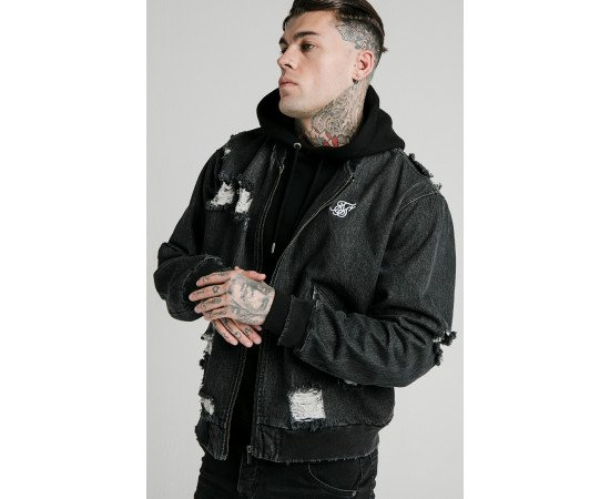 SIKSILK DISTRESSED DENIM BOMBER JACKET OFS_NS