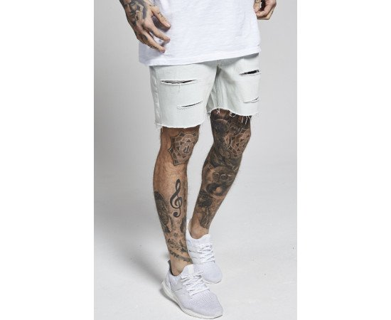 Kraťasy Illusive London Relaxed Fit Denim White