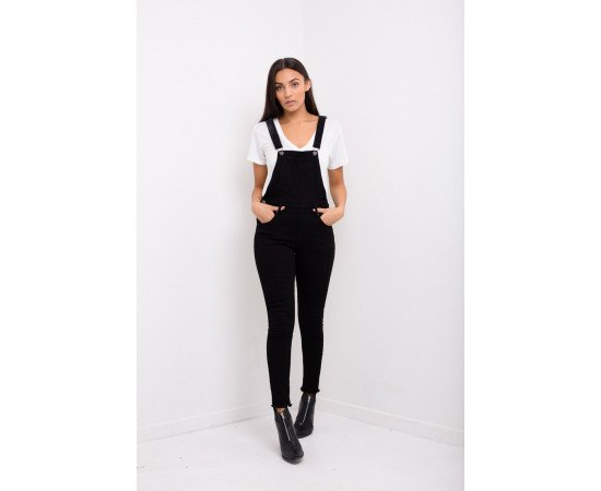 Jeans Liquor n Poker Lizzie Washed Skinny Fit Dungaree Black