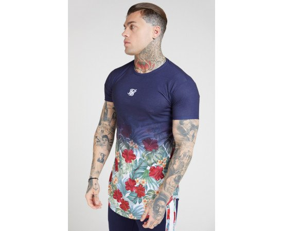 SIKSILK S/S CURVED HEM FADE TEE