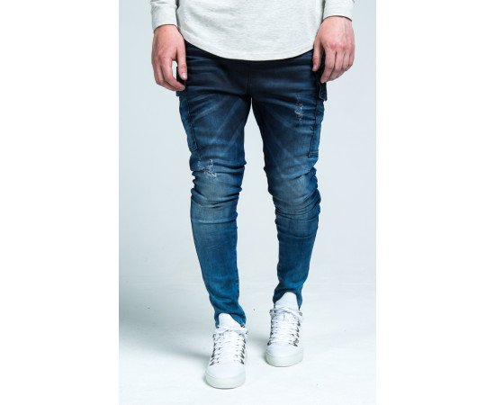 Jeans SikSilk Denim Cargo Blue