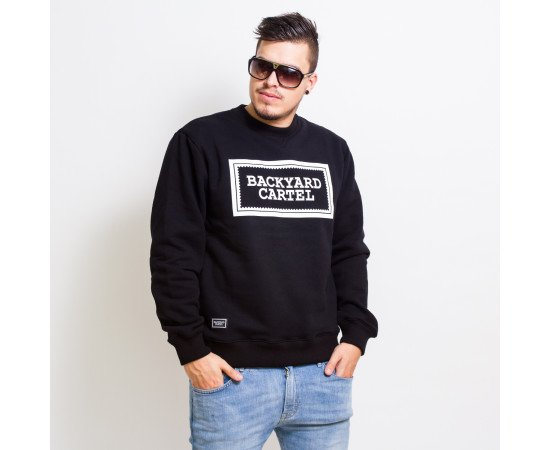 Crewneck Backyard Cartel Label Logo Crew Black