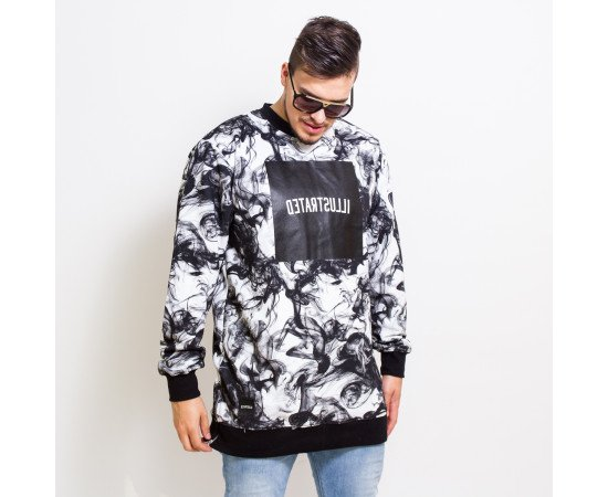Crewneck Backyard Cartel Smoke Long Fit White Black