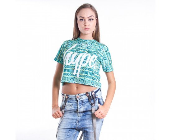 Crop top tričko Hype Tessellate Green