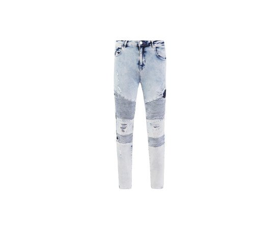 RepairedBiker Jeans | Bleach Washed Blue