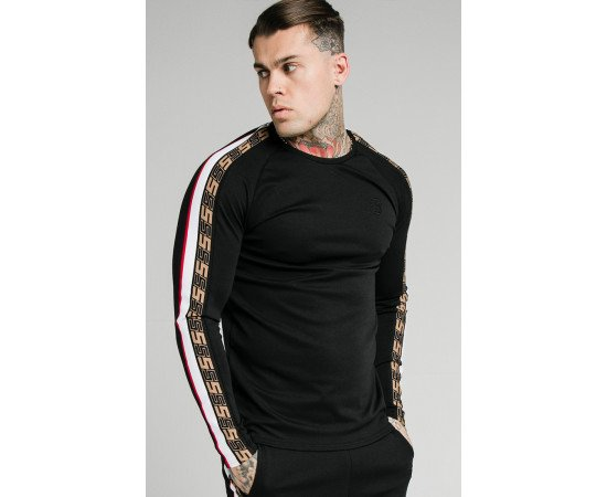 SIKSILK L/S JACQUARD RETRO GYM TEE