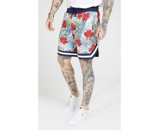 SIKSILK 70'S FLORAL BASKETBALL SHORTS