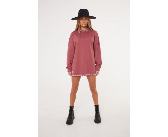 COUTURE RIB OVERSIZED ROSE SWEATER DRESS