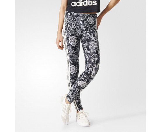 Dámske Legíny adidas Originals Florido 3-Stripes Black White ... ef232b88ec1