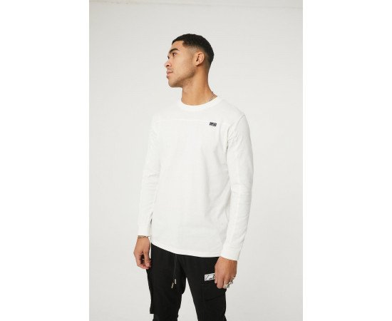 SEAM DETAIL LONG SLEEVE T-SHIRT WITH RUBBER BADGE DETAIL