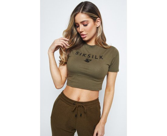 SIKSILK EMBROIDERED CROP TEE
