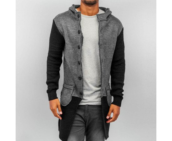 Sveter Bangastic Hooded Cardigan Grey Black