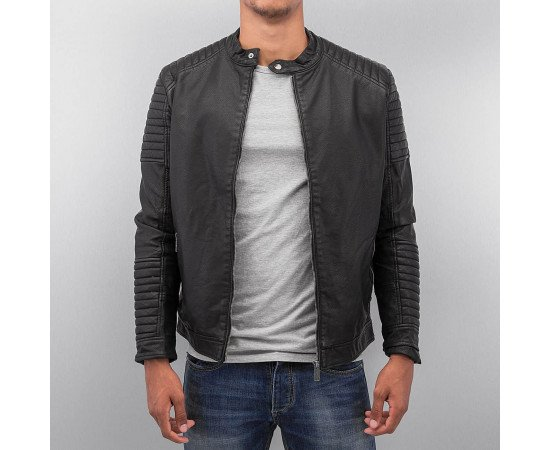 Bangastic Logo Fake Leather Jacket Black