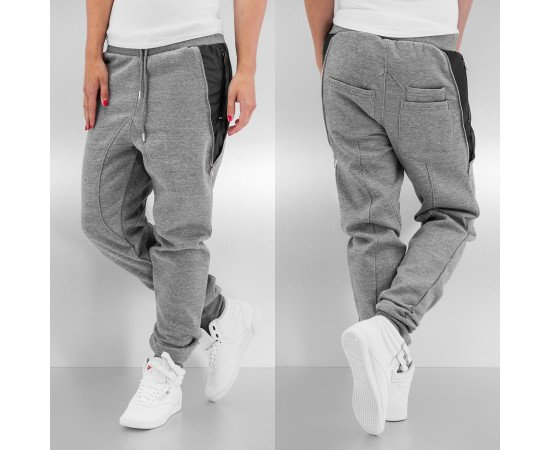 Just Rhyse Side Zip Sweat Pants Grey Melange