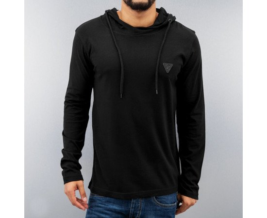 TRIČKO JUST RHYSE PREMIUM HOODED LONGSLEEVES BLACK