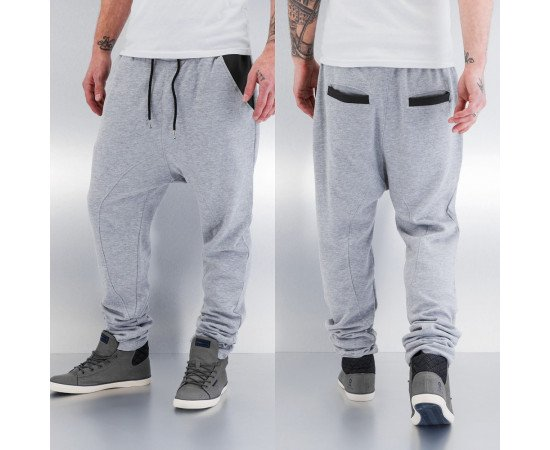 Tepláky Just Rhyse PU Pocket Sweat Pants Grey Melange