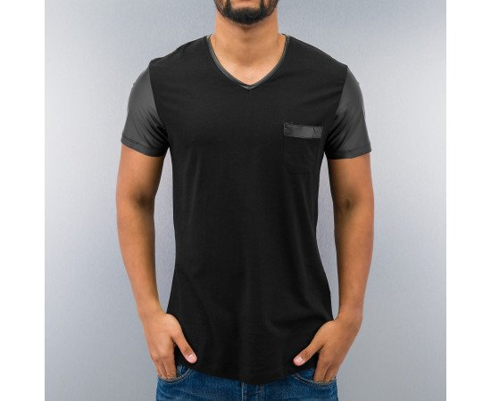 Just Rhyse PU Sleeve T-Shirt Black