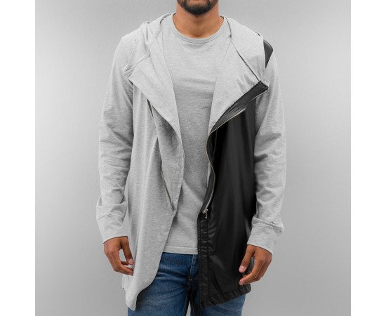 Just Rhyse Long PU Zip Hoody Grey
