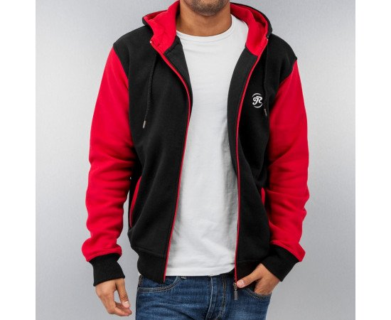 JUST RHYSE 2 TONE TIME ZIP HOODY BLACK/RED
