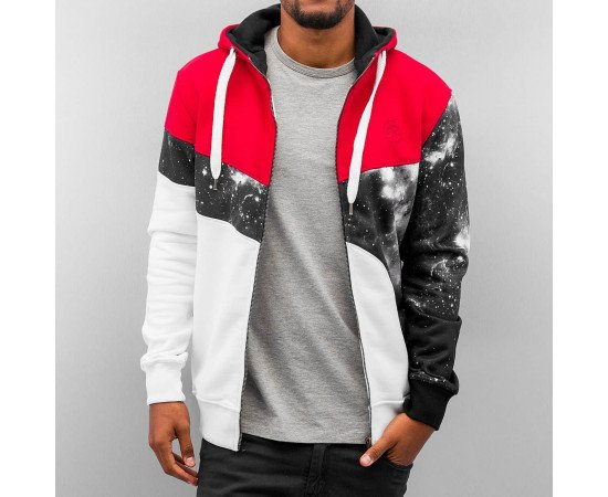 Mikina Just Rhyse Stars Zip Hoody Black Red White