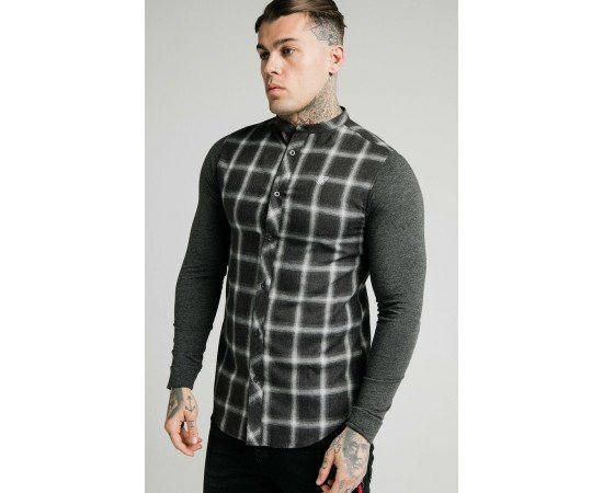 SIKSILK L/S FLANNEL CHECK GRANDAD SHIRT