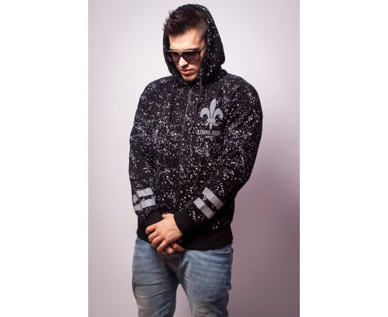 Mikina Criminal Damage Hoodie Splatter Reflective Zipped Black Silver