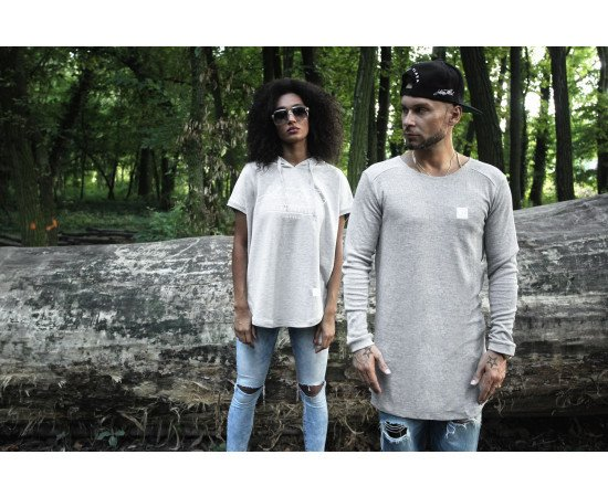 Tričko Luxury Flava Long Shaped Waffle L/s Grey