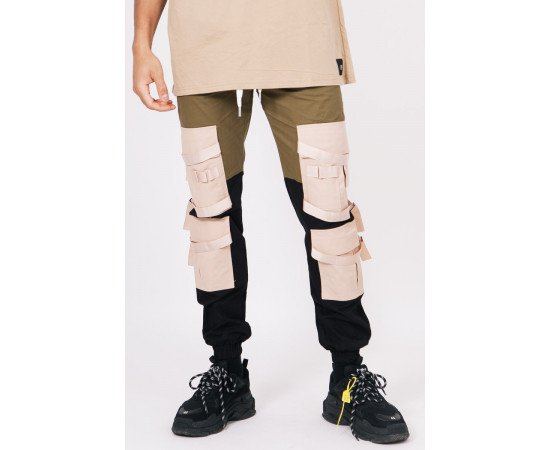 Sixth June straps cargo pants black khaki beige