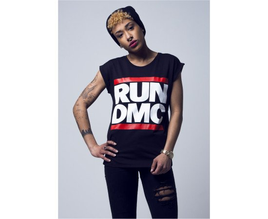 Tričko Mister Tee Ladies Run Dmc Logo Black