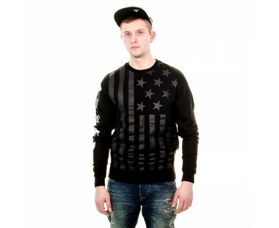 Mikina Cayler & Sons BLLB Flagged Long Crewneck Black White