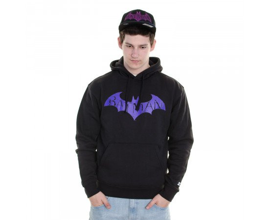 Mikina Starter Sweatshirt Batman Arkham Midnight Hood Black Purple