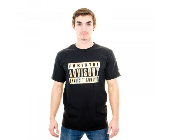 Tričko Starter Foil Icon Tee Parental Advisory Black Gold