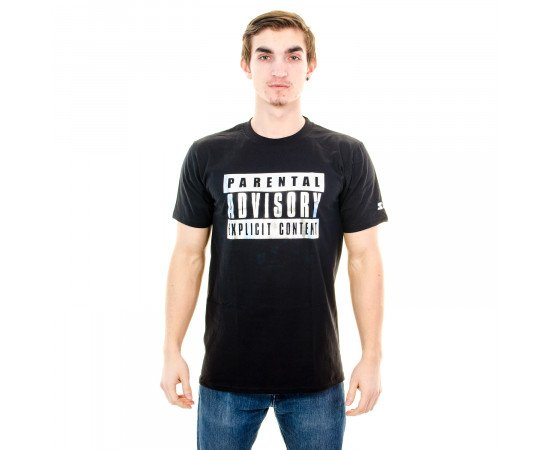 Tričko Starter Foil Icon Tee Parental Advisory Black Silver