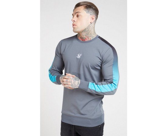 SikSilk Fade Panel Crew Sweat – Slate