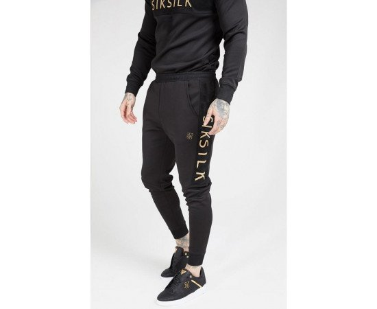 SikSilk Fitted Panel Cuff Pants – Black & Gold
