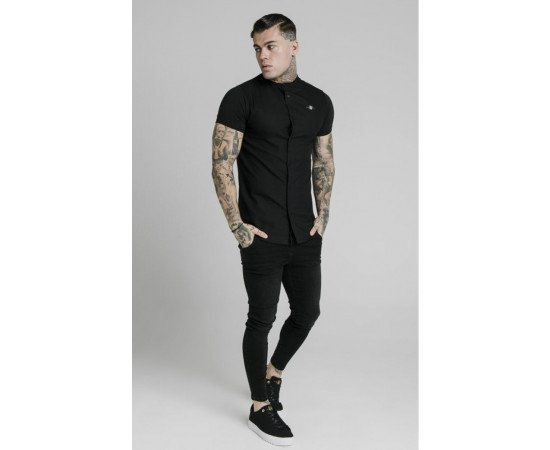 siksilk s/s grandad collar shirt