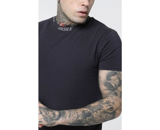 SikSilk S/S High Collar Logo Tee - Grey