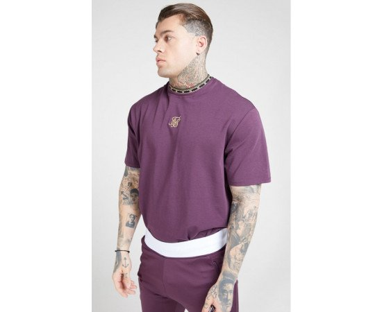 SikSilk Tape Collar Essential Tee - Burgundy & Gold