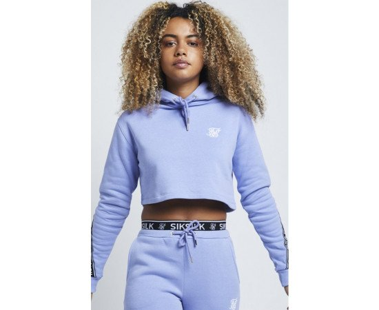 SikSilk Twisted Tape Cropped Hoodie – Violet