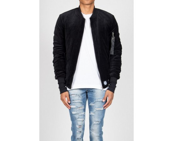 Bunda Sixth June Bomber Jacket Velvet Black
